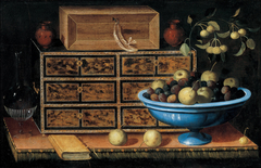 Writing Desk with a small Chest and a Fruit Bowl