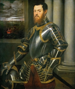 Young man in a gold-decorated suit of armour