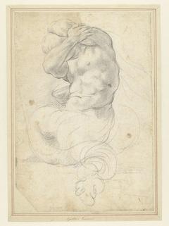Zeemonster of triton met om het hoofd gebogen armen