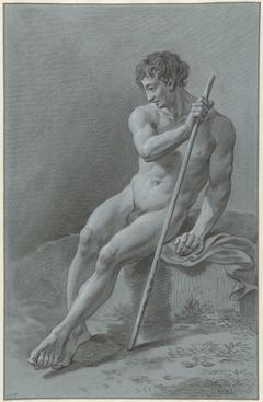 Zittend mannelijk naakt, een staf in de rechterhand