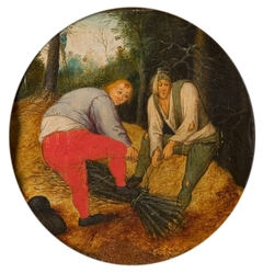Zwei Männer die Zweige zusammenbinden