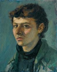 «Αυτοπροσωπογραφία 1987», 36 X 48 cm, oil on wood.