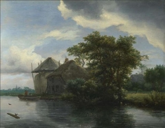 A Cottage and a Hayrick by a River