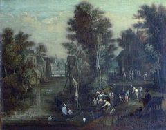 A Lady with Her Retinue beside a River