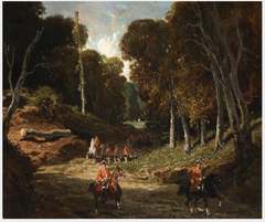 A Rider in Red Coats in a Forest