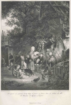 A Woman reading the News in front of a Cottage
