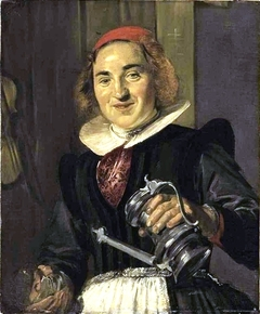 A young woman with a glass and flagon