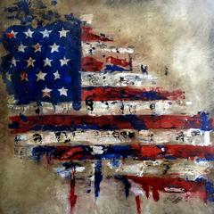 America - Original Abstract Flag painting American Veterans Canvas Pop Art by Fidostudio