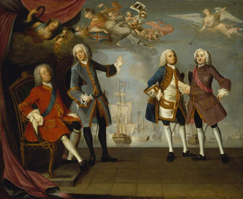An Allegorical Portrait Group commemorating the Victory at Quiberon Bay in 1759
