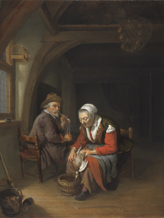 An Elderly Couple in an Interior