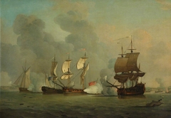 An English privateer engaging a French privateer