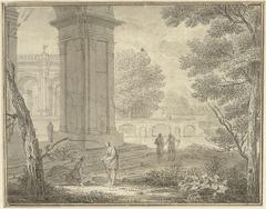 Arcadisch landschap met antieke gebouwen en enkele figuren