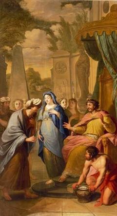 Bijbelse voorstelling: Abimelech geeft Sara aan Abraham terug