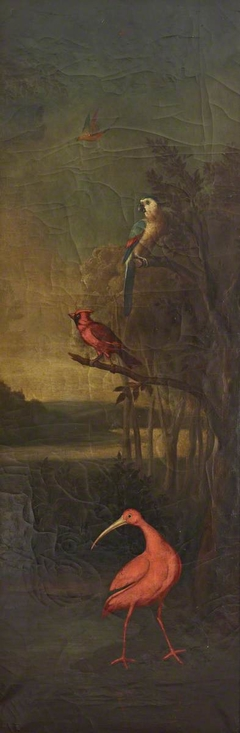 Birds in a River Landscape:  a Red Stork, a Red Finch, a Macaw and a Bird flying in the Air