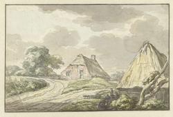 Boerenhuis aan de splitsing van een landweg