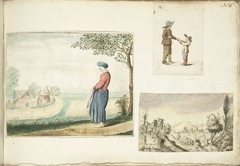 Boerenvrouw, jongens met appels en een heuvelachtig landschap
