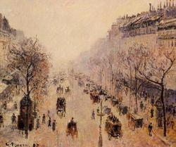 Boulevard Montmartre Morning, Sunlight And Mist - Boulevard Montmartre Matin, Lumière du soleil et le brouillard