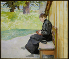 Bronisława, artist's sister, in front of the house