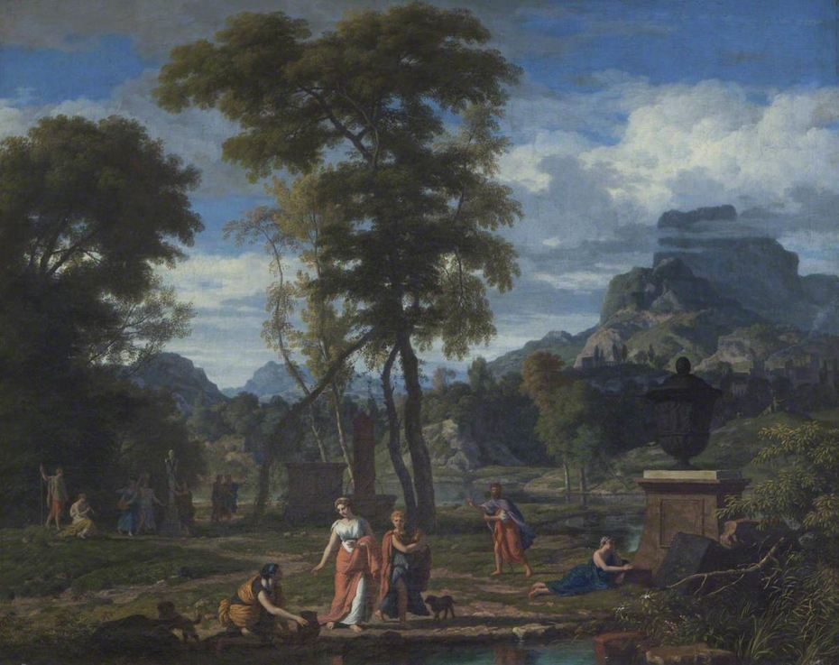 Classical Landscape with Greek Maidens venerating a Statue of Pan amongst Tombs