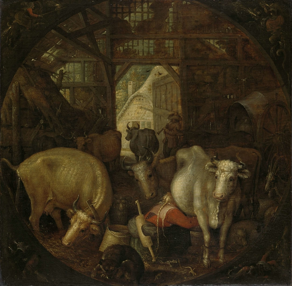 Cows in a stable; witches in the four corners