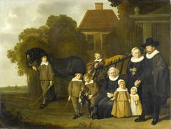 De familie Meebeeck Cruywagen bij de poort van hun buitenhuis aan de Uitweg bij Amsterdam