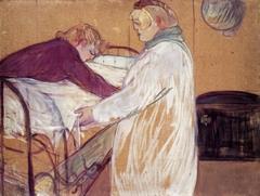 Deux femmes faisant leur lit