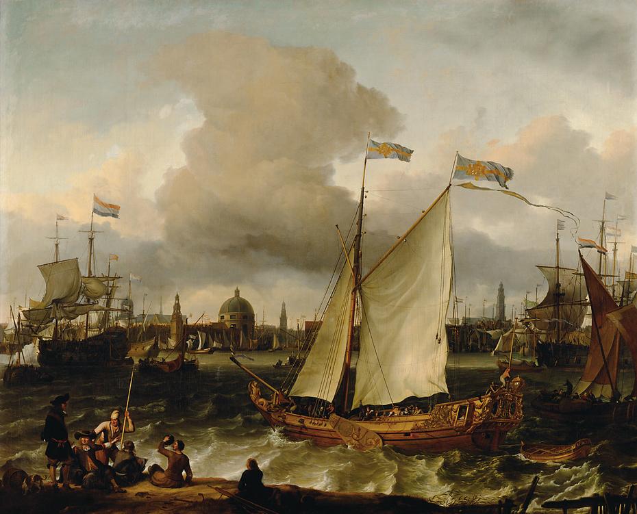 """Die schwedische Jacht """"Lejonet"""" auf dem Ij vor Amsterdam"""