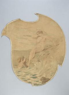 Femme au bord de la mer avec un enfant portant une écrevisse. Peinture décorative pour le Café de Paris.