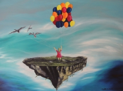 """Floating Island with Little Girl, Balloons and Seagulls"", oil on canvas, 80 x 60 cm"