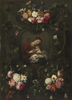 Flower garland around a Madonna and Child