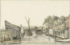 Gezicht van de Ringdijk op de Schulpbrug, ziende naar de Utrechtse zijde van de Amstel