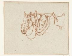 Hoofd van een opgetuigd paard, naar links