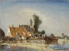 Huizen aan een vaart bij Crooswijk