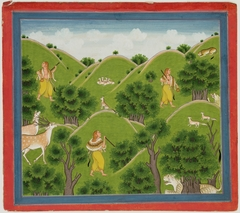 Illustrations to Life of Dhurva Maharaj: #11 Dhurva travels from place to place in Rishi garb