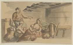 Interieur met twee voedende vrouwen, twee kinderen, een man en een kat