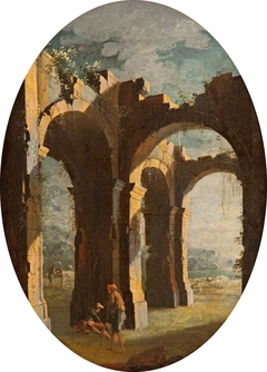Italian Capriccio of Classical Ruins with Labourers