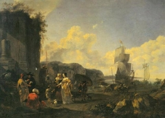 Italian Harbor with Ships and Slave market