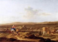 Italian Landscape with Figures and Animals: a Village on a Mountain Plateau