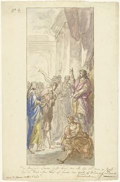 Izaäk en Rebekka voor Abimelech