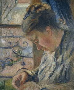 Julie Pissarro Sewing, the 'Red House', Pontoise