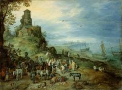 Küstenlandschaft mit der Berufung des Petrus und Andreas