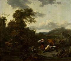Landscape with pastoral scene.