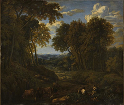 Landscape with shepherds and herd in a forest path
