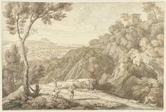 Landschap met enkele figuren op een landweg