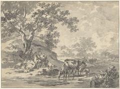 Landschap met herder en vee onder boom bij water