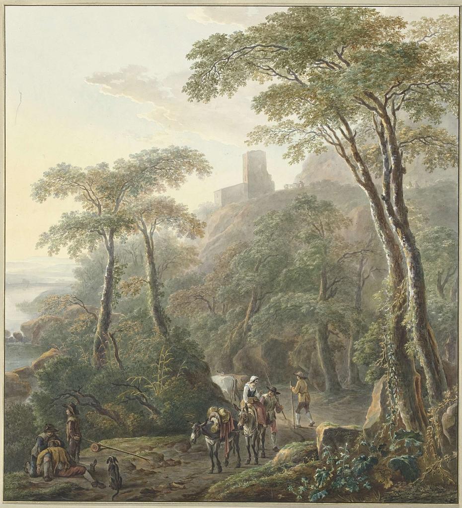 Landschap met herders en melkmeisje