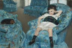 Little Girl in a Blue Armchair