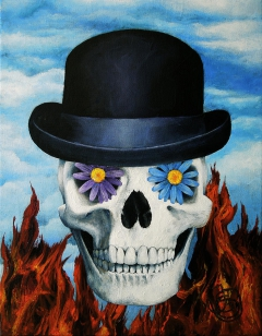 Magritte Bowler Hat Skull Painting