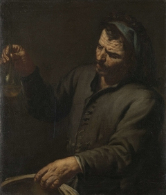 Man with Urine Bottle in his Hand