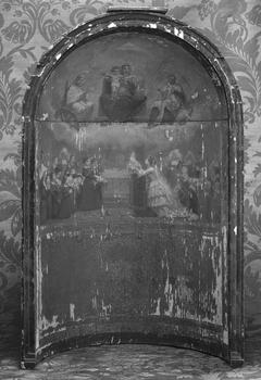 Maquette pour la chapelle de la maison de l'éducation des jeunes ouvrières: l'Impératrice mettant l'œuvre des jeunes ouvrières sous la protection de la Vierge, de saint Vincent-de-Paul et de sainte Geneviève